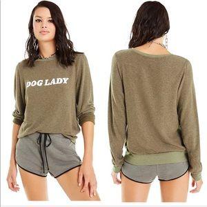 Wildfox Dog Lady Green Pullover Sweatshirt XS NWT